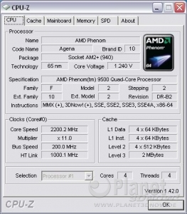 CPU-Z Phenom 9500: CPU