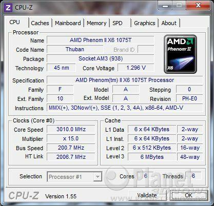 CPU-Z CPU AMD Phenom II X6 1075T