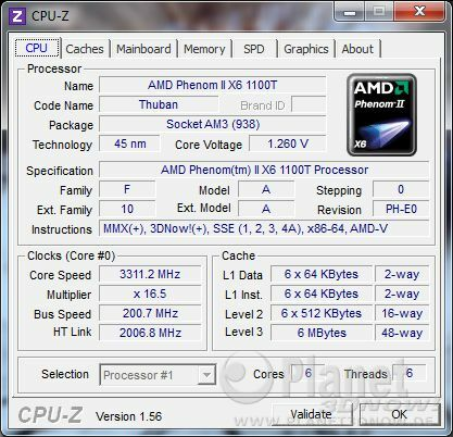 CPU-Z CPU AMD Phenom II X6 1100T