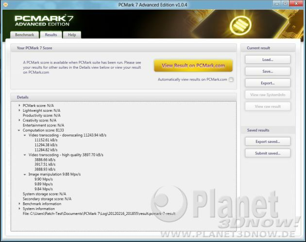 PCMark Detailansicht