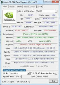 GPU Caps Viewer 1.16.0 - GeForce GTX 680