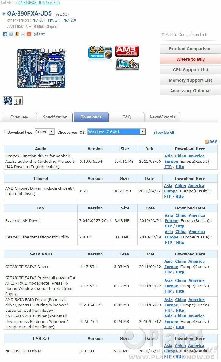 Treiber-Versionen Gigabyte GA-890FXA-UD5