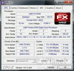 CPU-Z CPU Cool'n'Quiet AMD Vishera