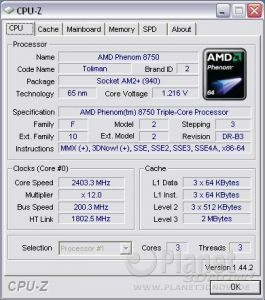 CPU-Z AMD Phenom X3 8750