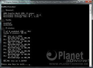 angepasste Einstellungen des Turbo-Modus eines AMD FX-8350