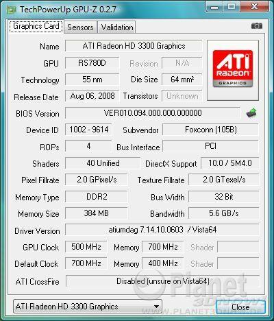Foxconn A7DA-S: GPU HD 3300
