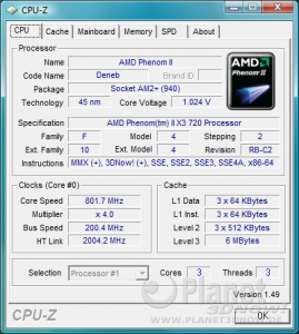 AMD Phenom II Deneb AM3 - CPU-Z Cool'n'Quiet X3 720