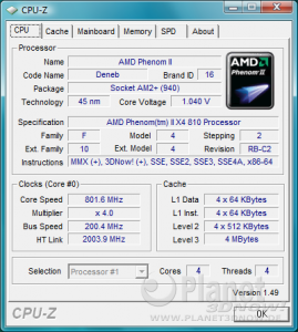 AMD Phenom II Deneb AM3 - CPU-Z Cool'n'Quiet X4 810