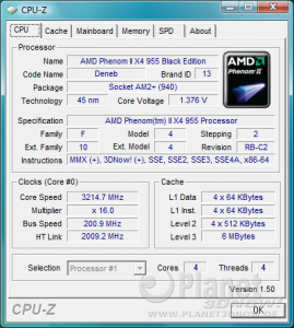 AMD Phenom II X4 955 BE - CPU-Z CPU X4 955 BE