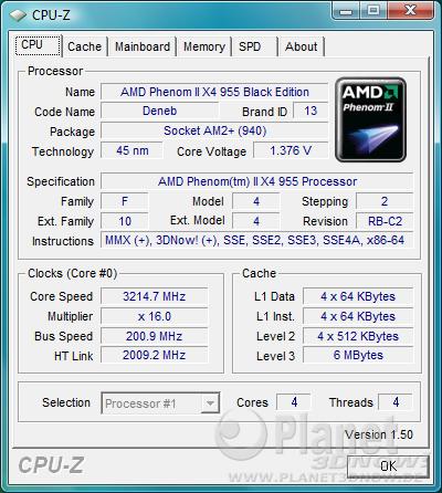 AMD Phenom II X4 955 BE - CPU-Z CPU X4 955 BE