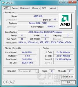 CPU-Z CPU Athlon II X2 250