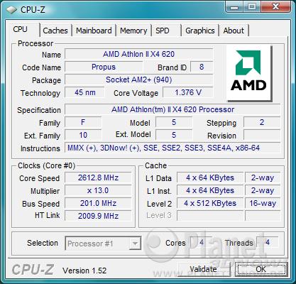 CPU-Z CPU AMD Athlon II X4 620
