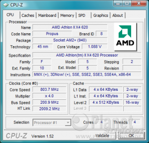 CPU-Z CPU AMD Athlon II X4 620