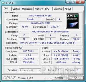 CPU-Z CPU AMD Phenom II X4 965 BE C3