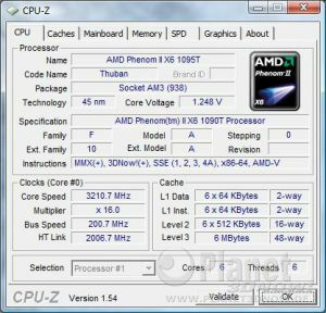 CPU-Z CPU AMD Phenom II X6 Thuban