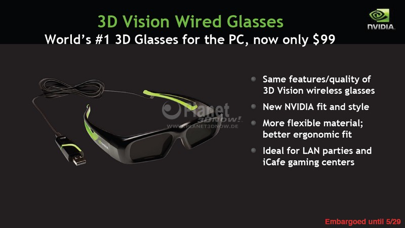 3D Vision Wired Glasses