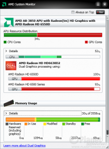 AMD System Monitor - Llano @ Dual Graphics