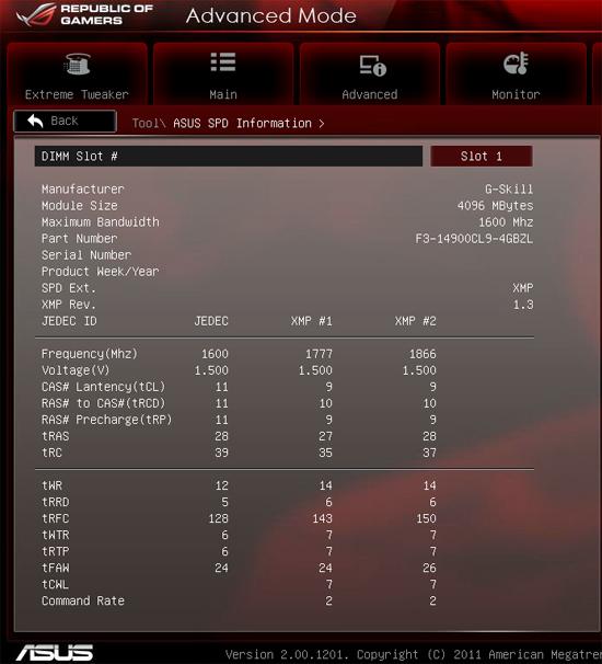 SPD G.Skill RipjawsZ DDR3-1866 (F3-14900CL9Q-16GBZL)