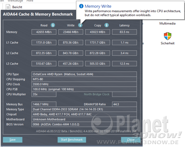 AMD Ryzen 3700X: AIDA Memory Write Hinweismeldung
