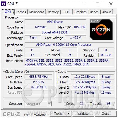 AMD Ryzen 9 3900X im Detail - CPU-Z