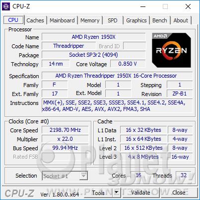 AMD Ryzen Threadripper 1950X - CPU-Z: CPU Idle-Takt