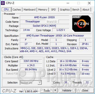 AMD Ryzen Threadripper 1950X - CPU-Z: CPU Standardtakt