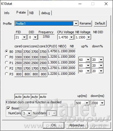 Turbo CORE: P-States beim Phenom II X6
