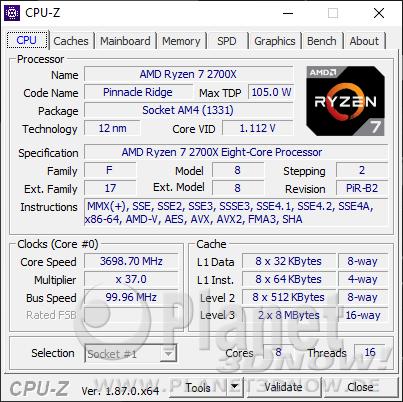 AMD Ryzen 7 2700X - CPU-Z: CPU ohne Turbo