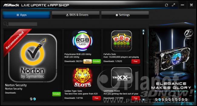 ASRock X570 Phantom Gaming X: Software - ASRock Live Update & App Shop