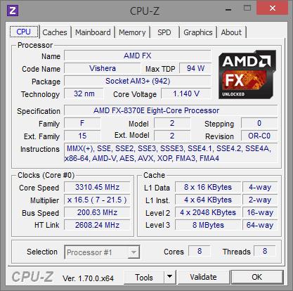 AMD FX-8370E CPU-Z Normaltakt