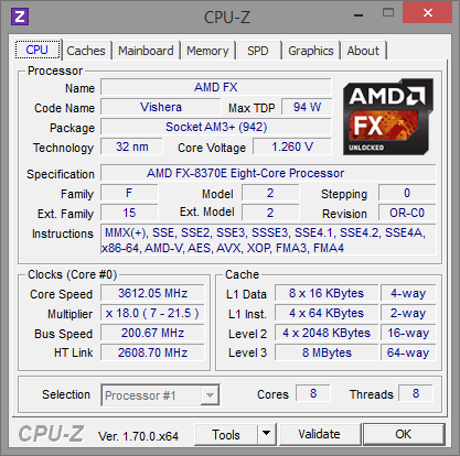 AMD FX-8370E CPU-Z Turbo-Stufe 1