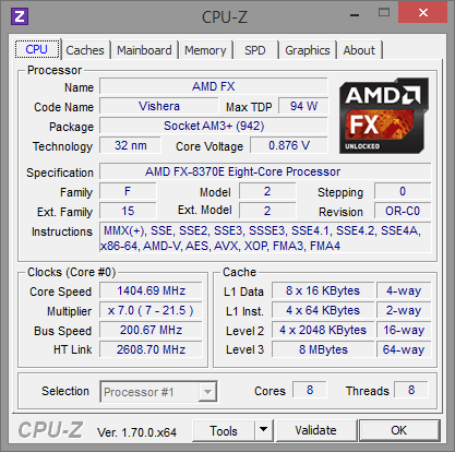 AMD FX-8370E CPU-Z Cool\'n\'Quiet