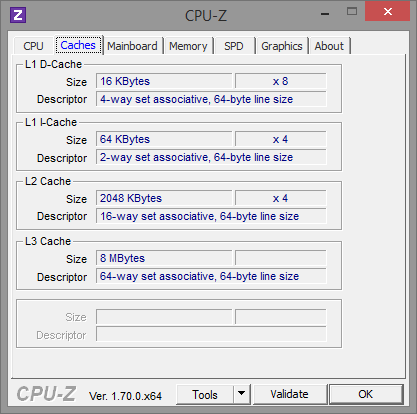 AMD FX-8370E CPU-Z Caches