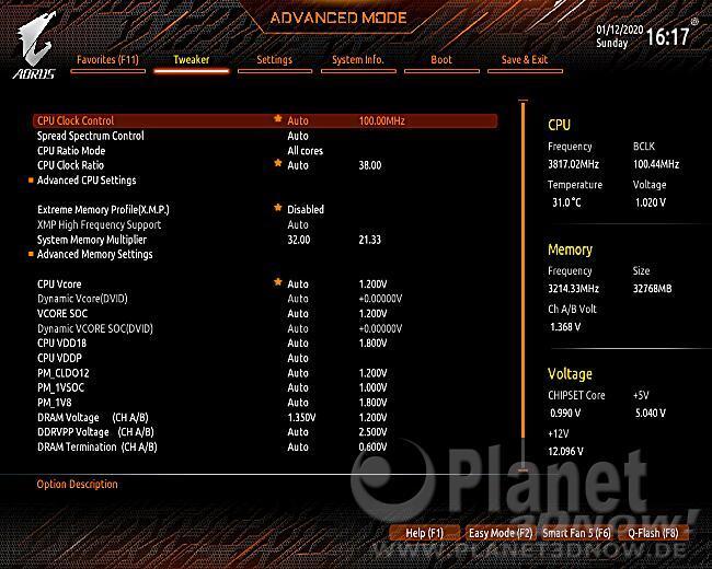 Gigabyte X570 Aorus Master: BIOS